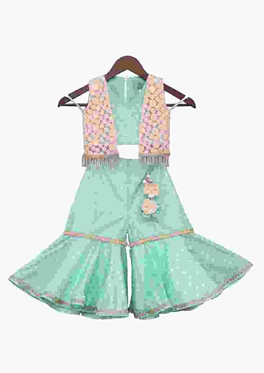 Aqua Printed Top With Jacket And Sharara by Fayon Kids