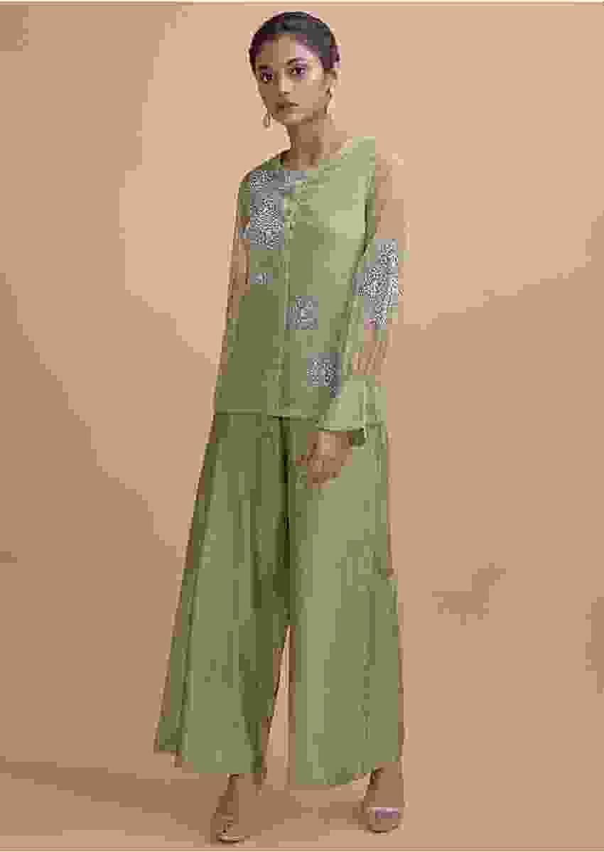 Asparagus Green Palazzo And Organza Silk Sheer Top With Beads Online - Kalki Fashion