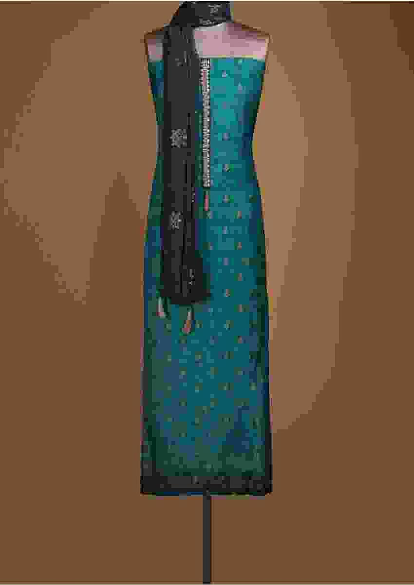 Azure Blue Unstitched Suit With Bandhani Print And Weaved Buttis Online - Kalki Fashion