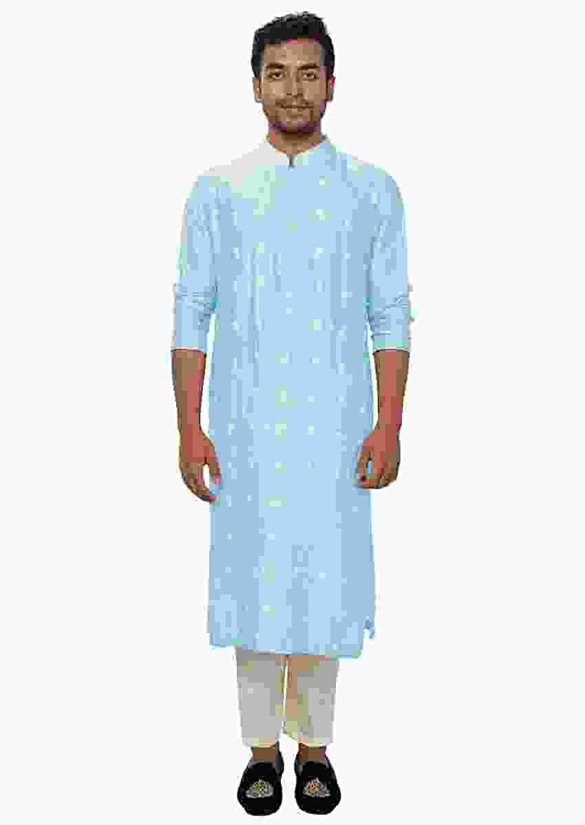Baby Blue Kurta Churidar Set With Threadwork Embroidery Online - Kalki Fashion