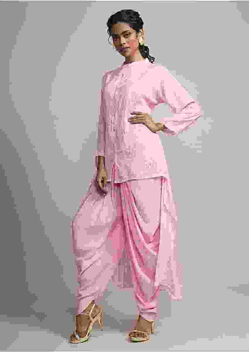 Baby Pink Bandhani Printed Suit With Matching Dhoti Pant Online - Kalki Fashion