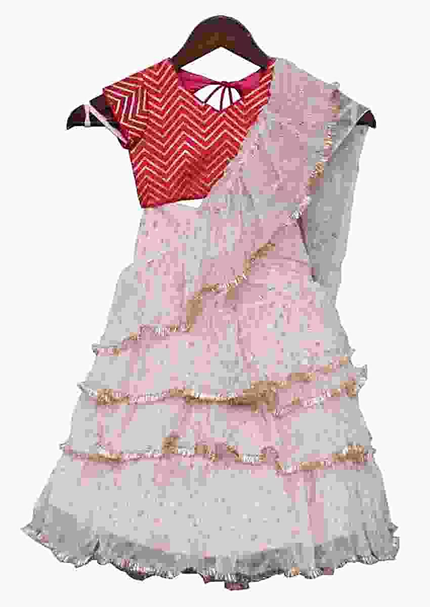 Baby Pink Layered Lehenga With Attached Ruffle Dupatta And Hot Pink Choli by Fayon Kids