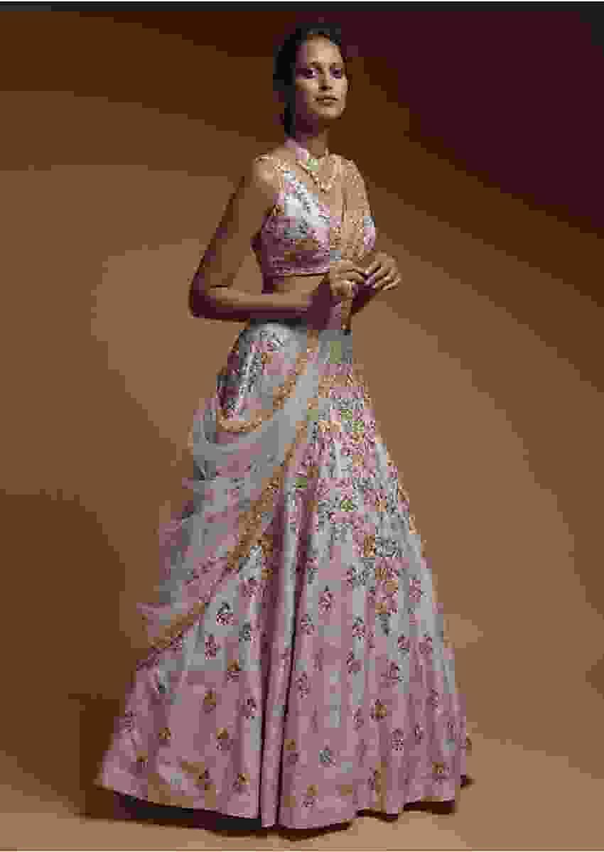 Baby Pink Lehenga Choli In Raw Silk With Hand Embroidered Resham Flowers Online - Kalki Fashion