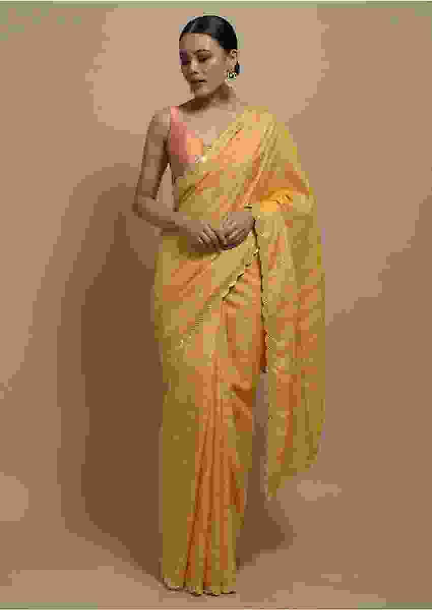 Banana Yellow Checks Saree With Mirror Embroidered Scallop Border Online Kalki Fashion