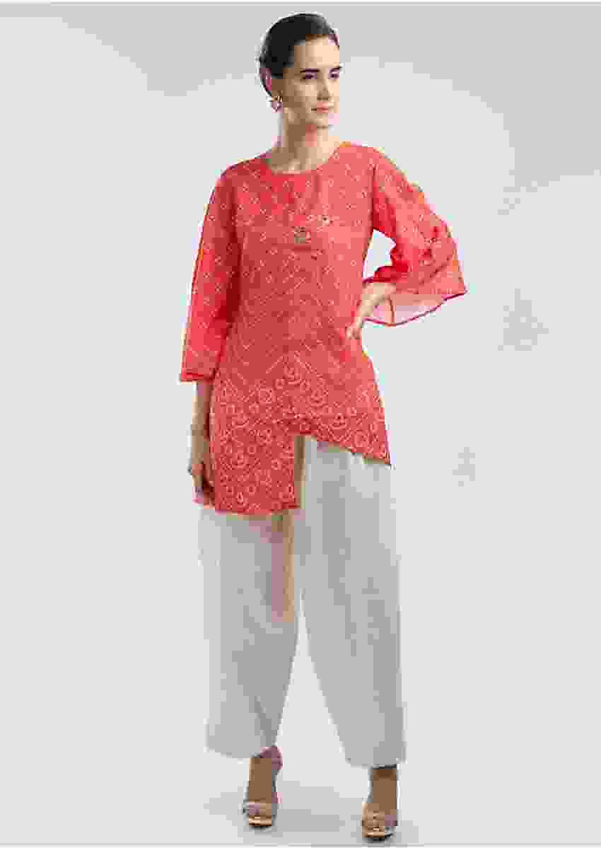 Coral Top In Bandhani Print With Cream Cotton Palazzo Online - Kalki Fashion