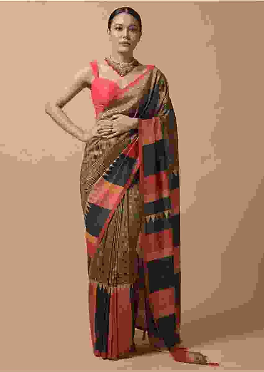 Beige And Back Saree With Checks Print And Contrast Orange And Black Printed Border Online - Kalki Fashion