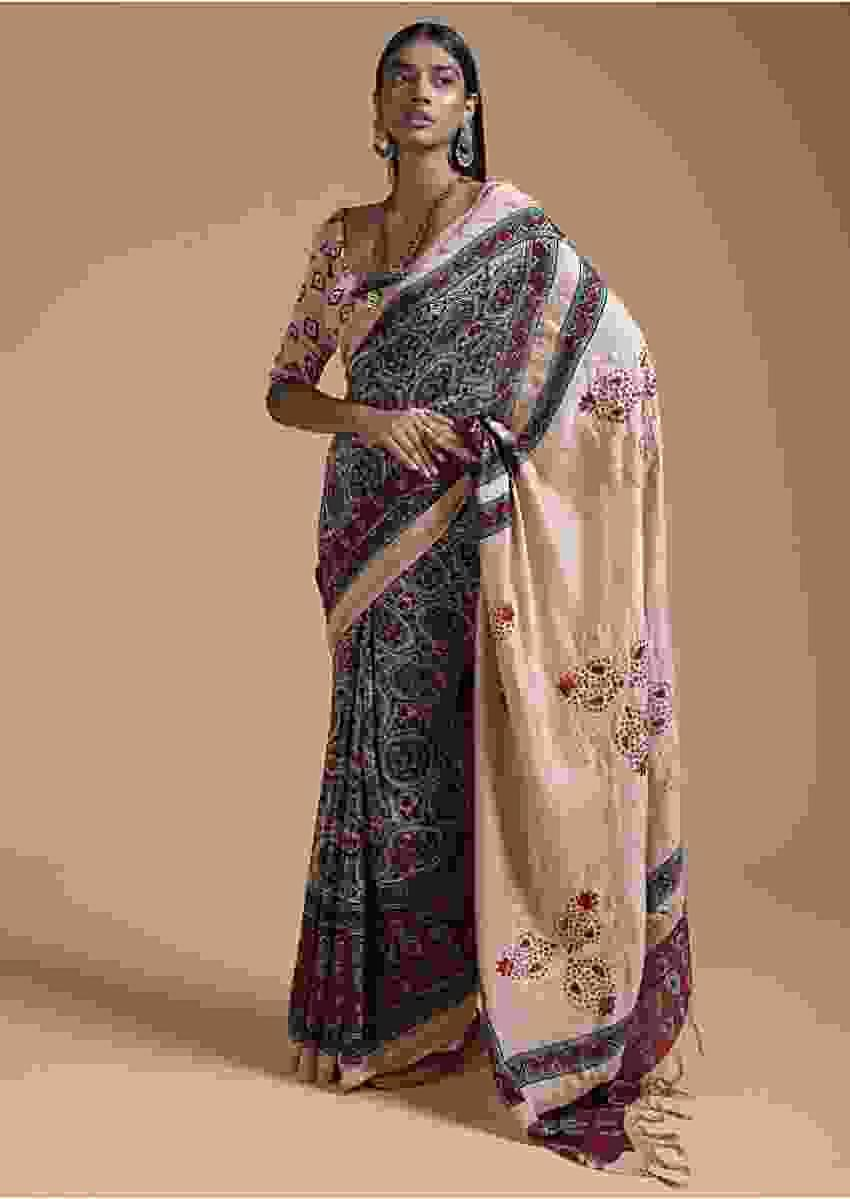 Beige And Maroon Saree In Cotton With Block Printed Jaal Design Online - Kalki Fashion