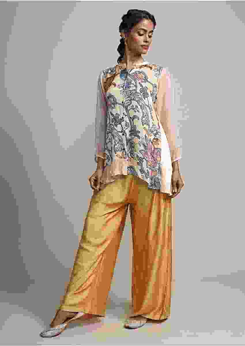 Beige Front Short Back Long Digital Printed SuitWith Golden Pants Online - Kalki Fashion