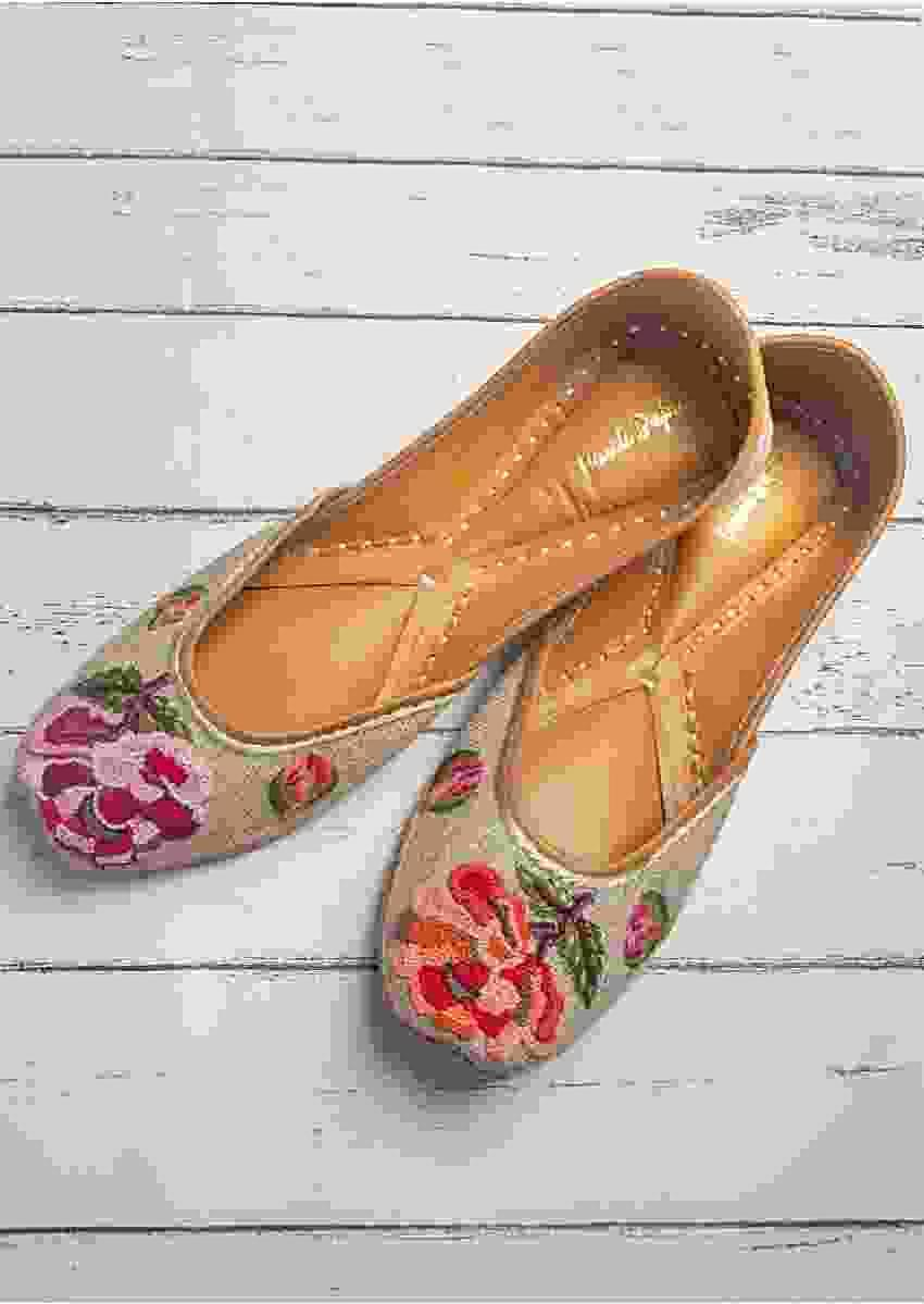 Beige Juttis In Jutti Fabric With Colorful French Knots Flowers By Vareli Bafna