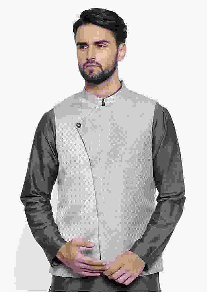 Beige Nehru Jacket In Silk Jacquard With Stylish Overlapping Placket By Mayank Modi