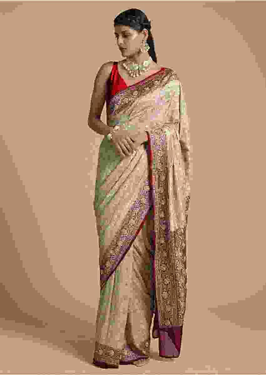 Beige Saree In Georgette With Brocade Floral Jaal And Contrasting Red Border And Pallu Online - Kalki Fashion