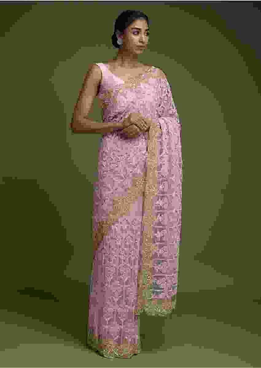 Beige Saree In Net Adorned With Pink Thread Embroidered Floral Heritage Pattern Online - Kalki Fashion