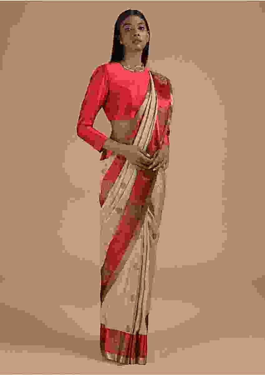 Beige And Red Pure Handloom Saree In Tussar Silk With Woven Floral Buttis Online - Kalki Fashion