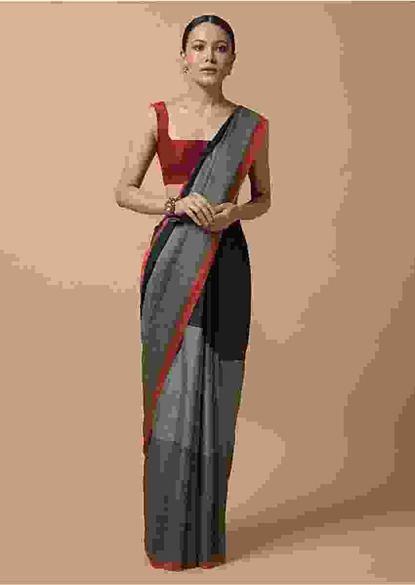 Black And Grey Color Block Printed Saree In Silk With Orange And Maroon Pallu Online - Kalki Fashion