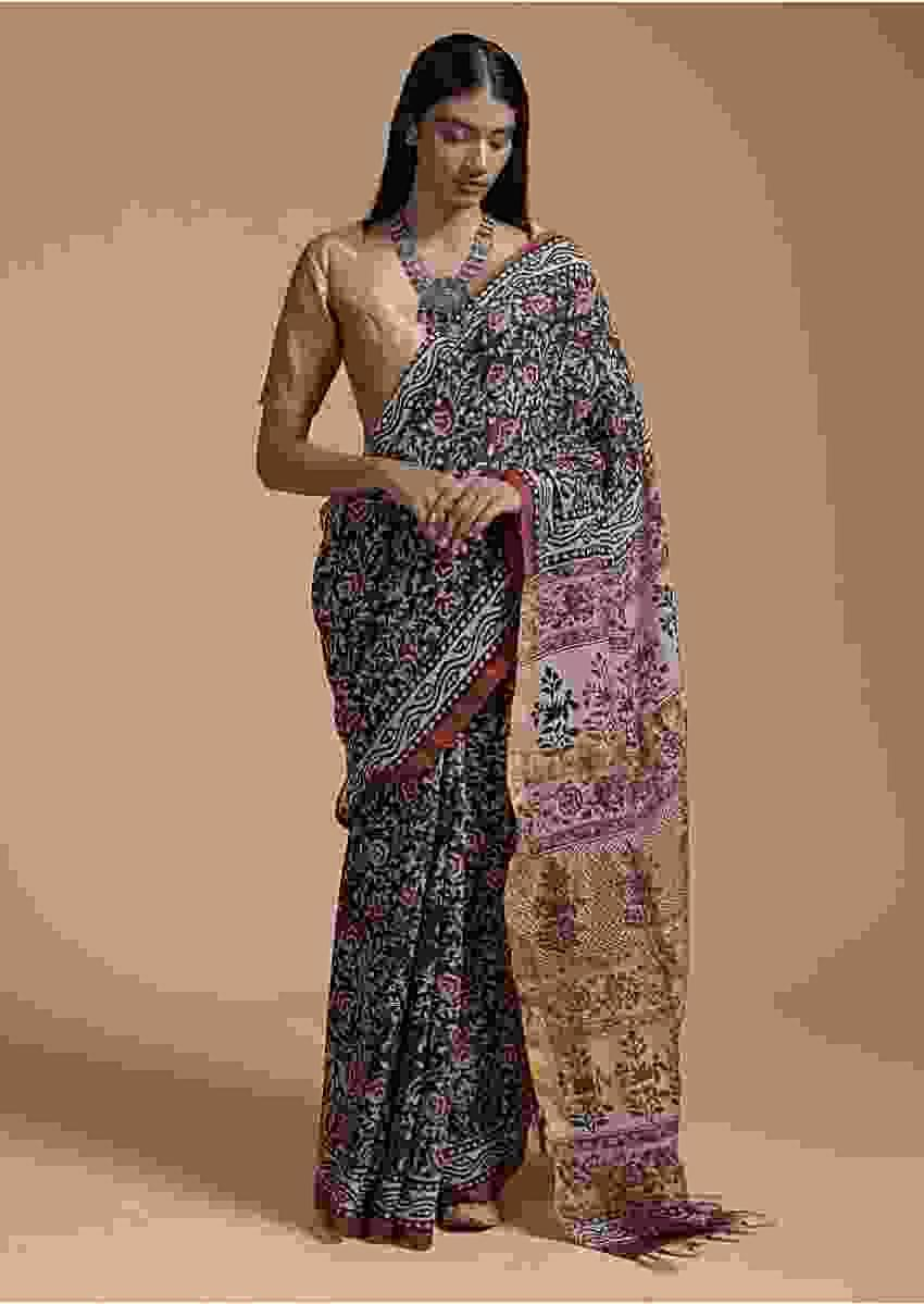 Black And Maroon Saree In Cotton With Batik Printed Floral Jaal Design Online - Kalki Fashion