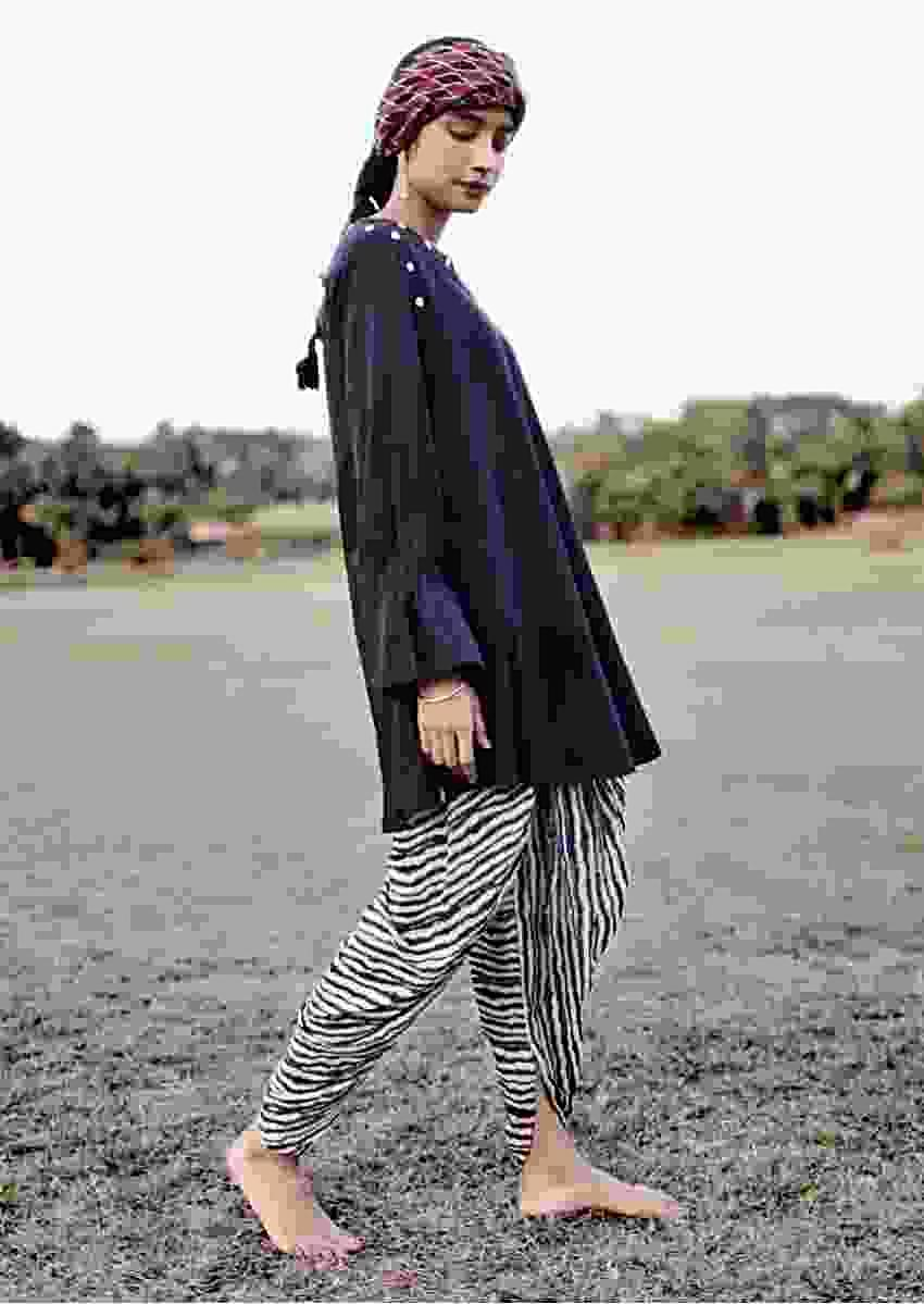 Black And White Dhoti Suit In Cotton With Printed Zebra Stripes And Long Sleeves With Bell Cuffs Online - Kalki Fashion