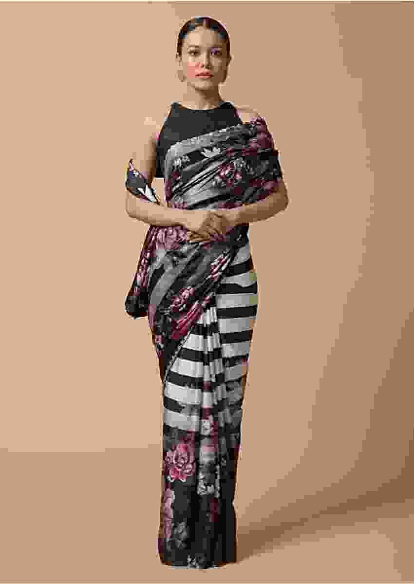Black And White Shaded Saree In Satin With Stripes And Colorful Floral Print Online - Kalki Fashion