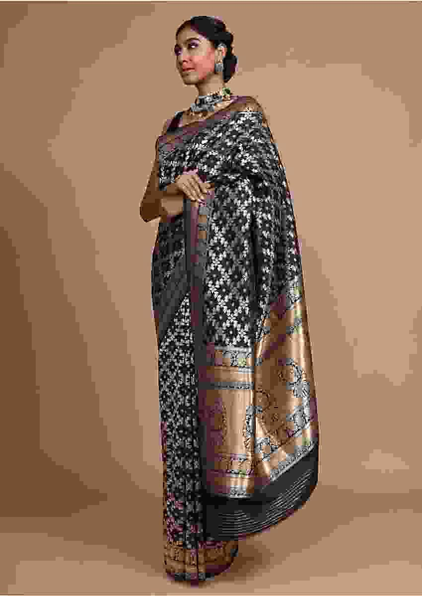 Black Banarasi Saree In Silk With Weaved Floral Mesh Jaal Online - Kalki Fashion