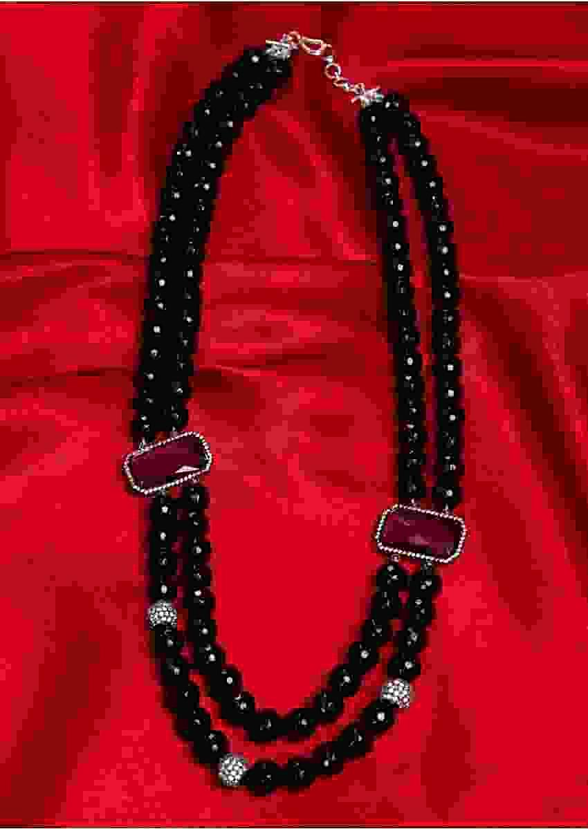 Black Bead Double Layer Neckalce With Amethyst Crystal Stones On The Side Online - Kalki Fashion