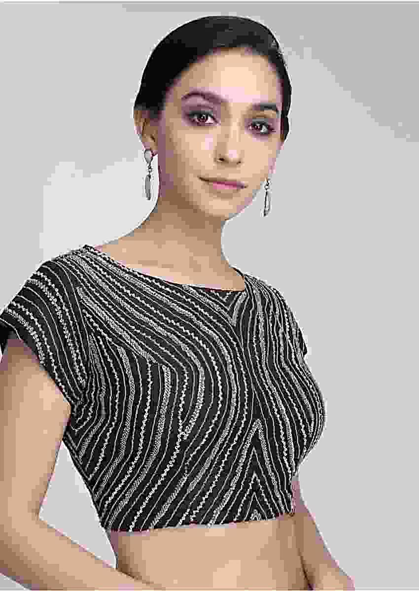 Black Blouse Heavily Embellished With Self Sequins And Cut Dana Work In Curved Stripes Online - Kalki Fashion