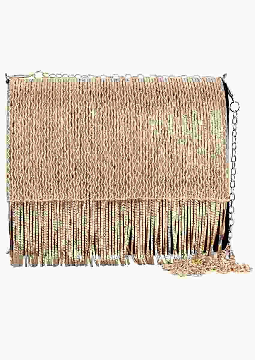 Black Box Clutch In Suede With Golden Chain Fringes Online - Kalki Fashion