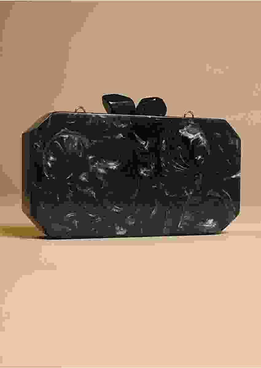 Black Box Clutch With Beautiful Marble Design Online - Kalki Fashion