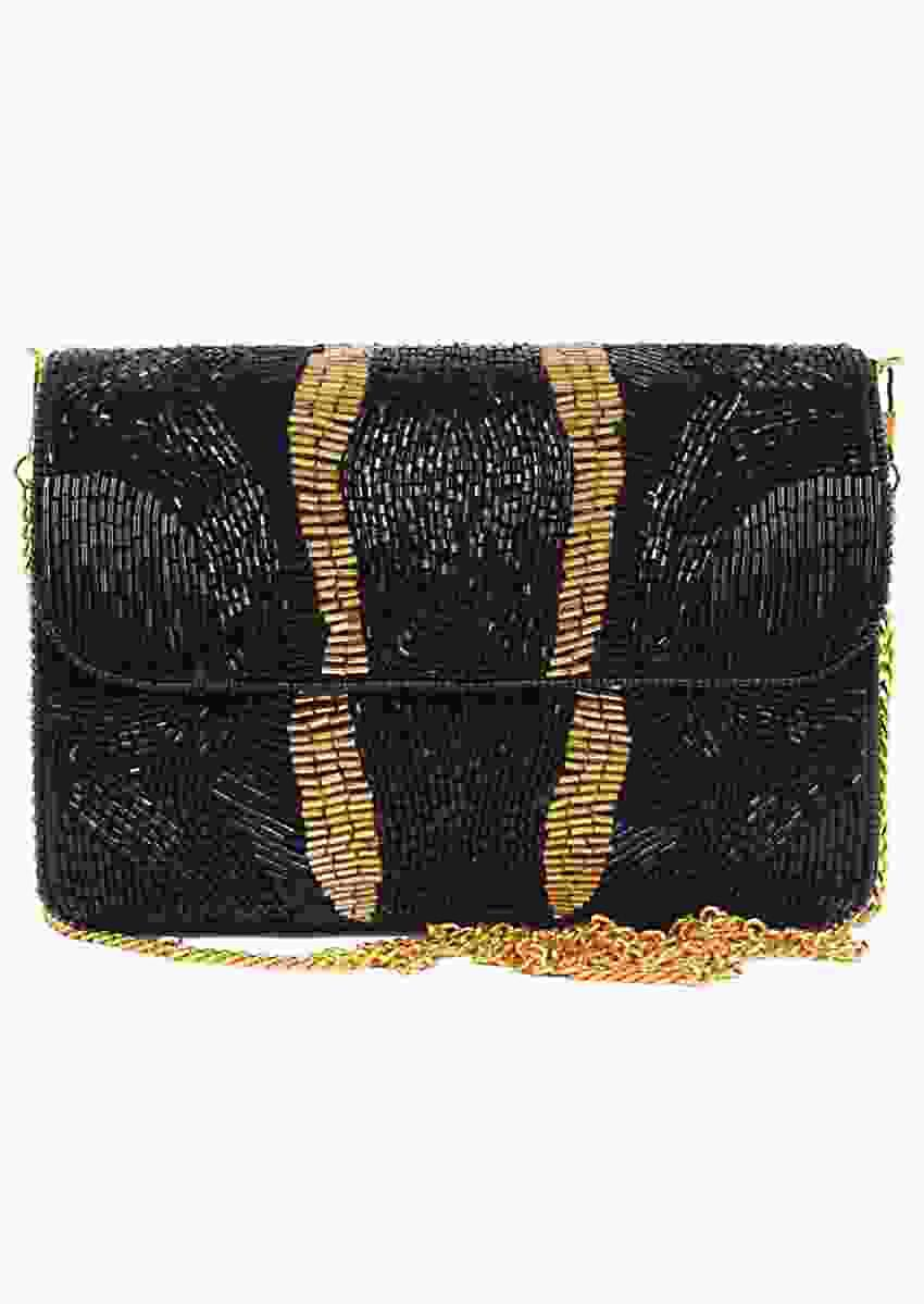 Black Clutch With Hand Embellished Cut Dana Work And Golden Accent Online - Kalki Fashion