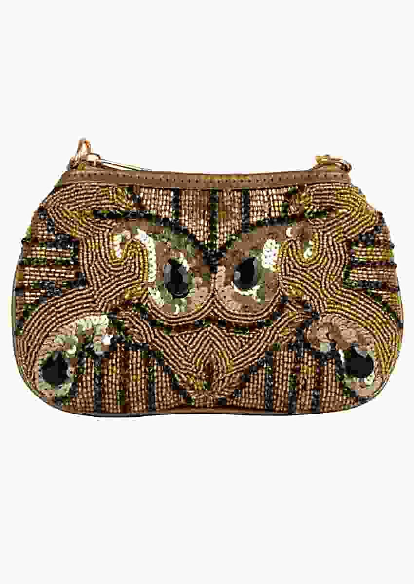 Black Clutch With Hand Embellished Golden Cut Dana And Sequins Online - Kalki Fashion