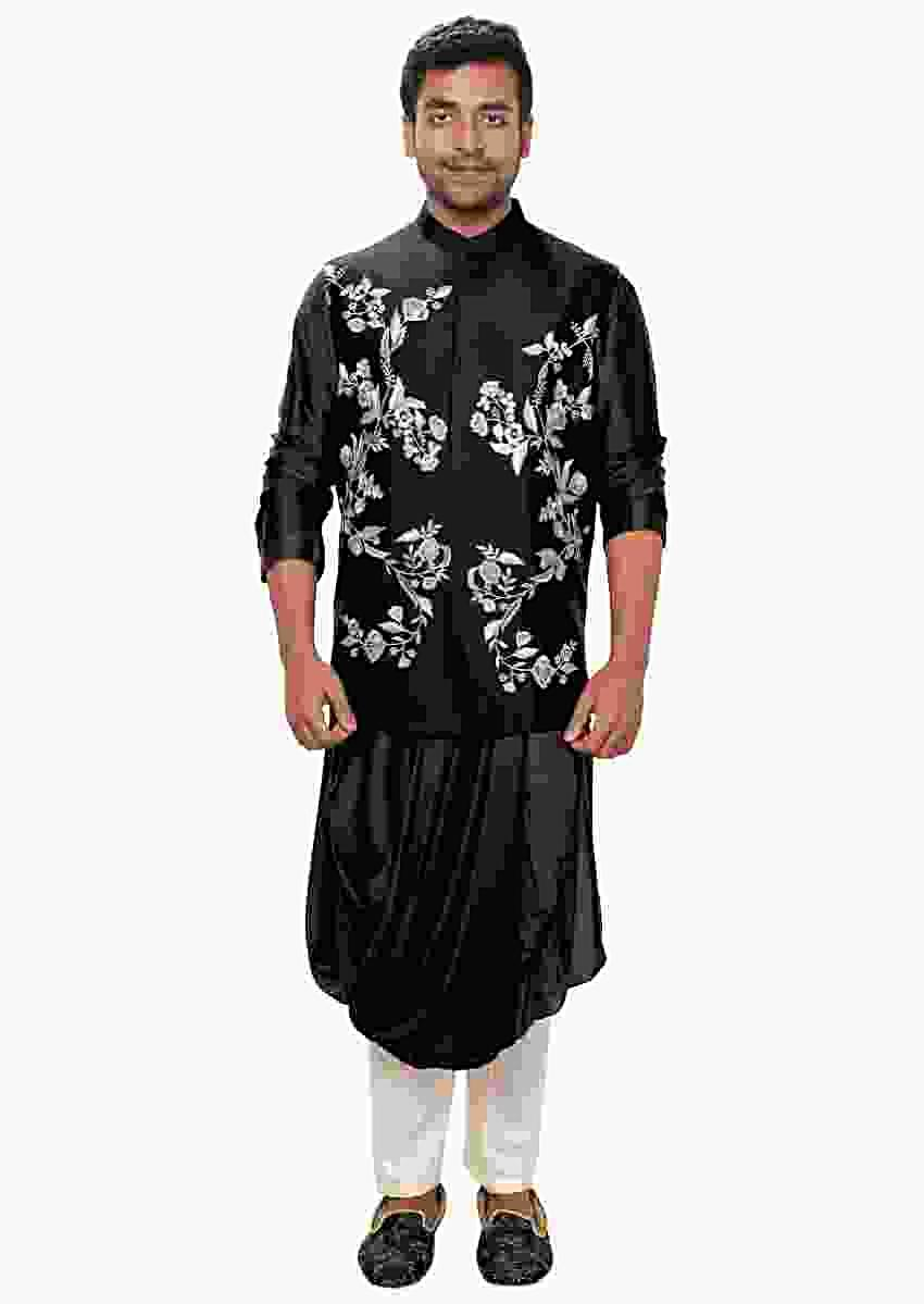Black Kurta With Cowl Drape And Floral Embroidered Jacket Set Online - Kalki Fashion