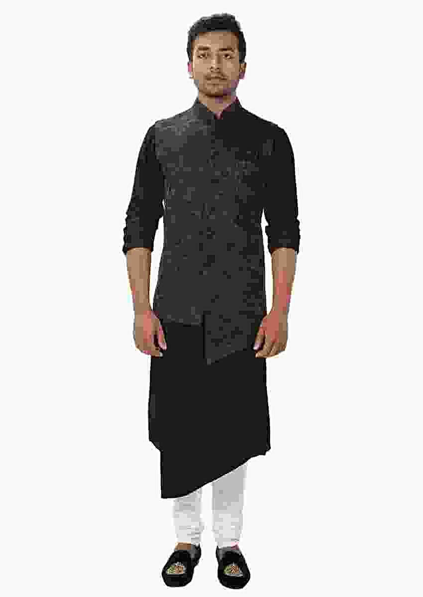 Black Front Slit Kurta Set Paired With A Black Paisley Self Embroidered Asymmetrical Jacket Online - Kalki Fashion