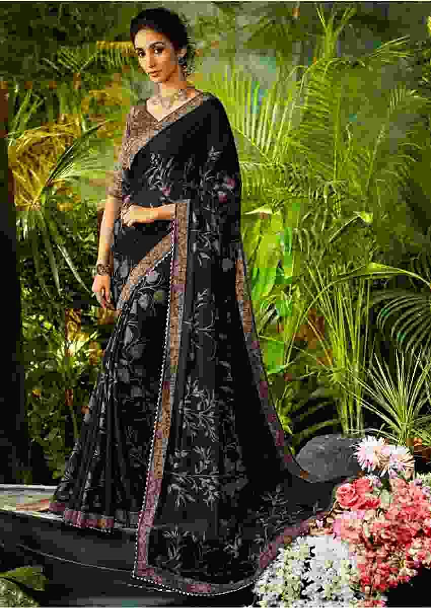 Black Saree In Georgette With Floral Print Online - Kalki Fashion