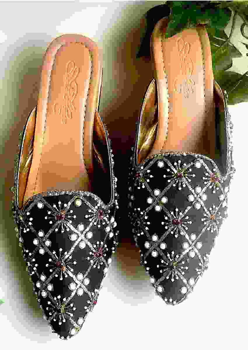 Black Heeled Mules With Red Swarovski And Zari Detailing By Sole House