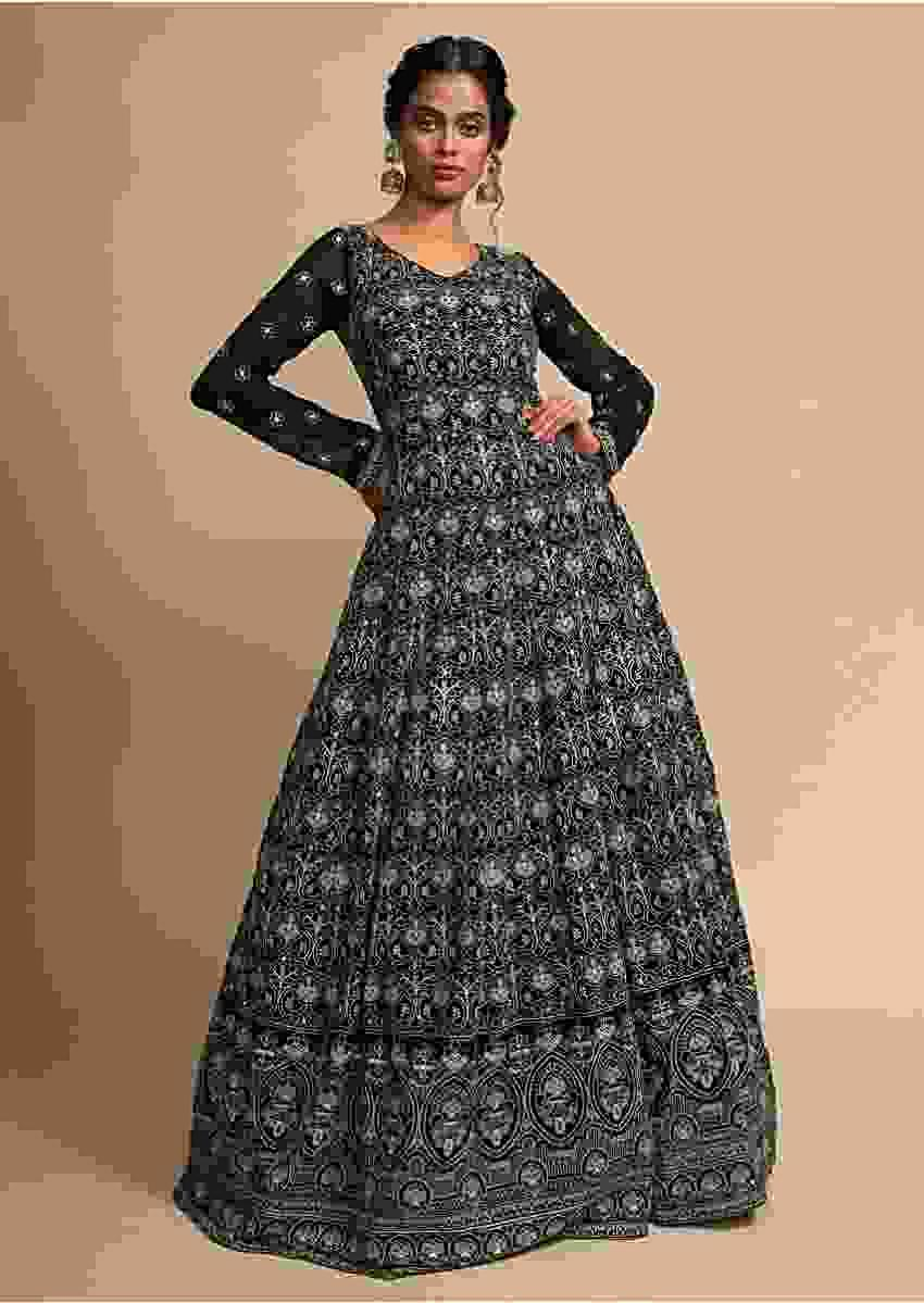 Black Indowestern Anarkali Gown In Georgette With Thread And Sequins Embroidered Jaal Online - Kalki Fashion