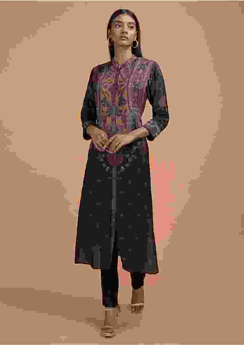 Black Kurta In Crepe Adorned With Floral Print Online - Kalki Fashion