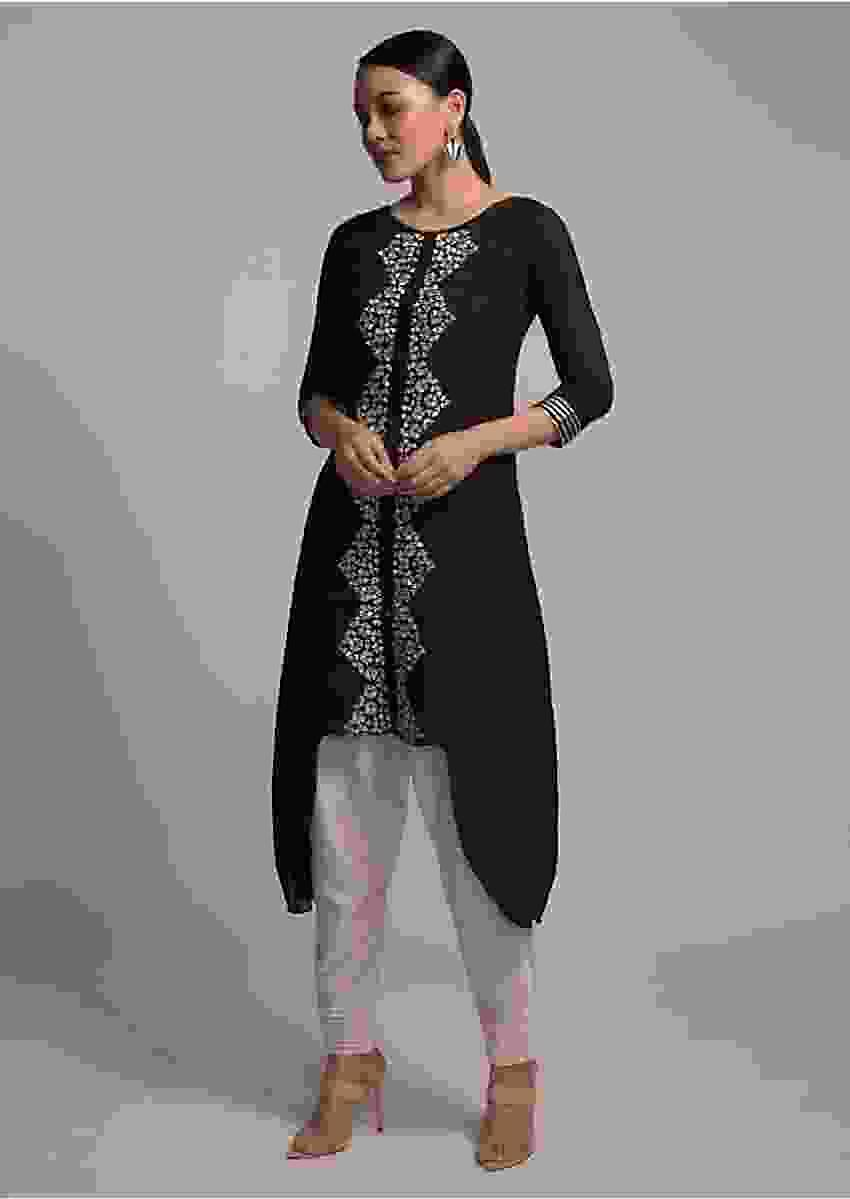 Black Kurta Set In Cotton With High Low Hem And Resham Embroidered Placket Online - Kalki Fashion