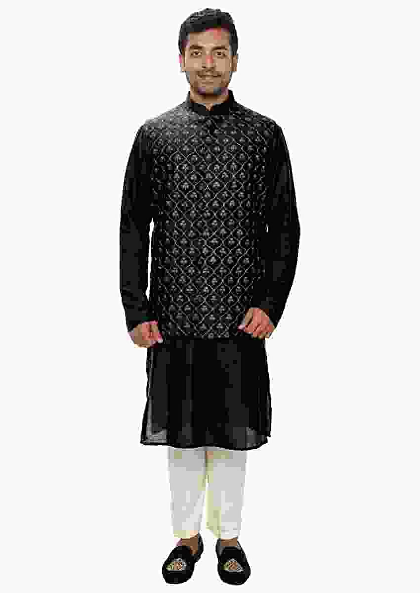 Black Kurta Set Paired With A Black Heavy Embroidered Jacket Online - Kalki Fashion