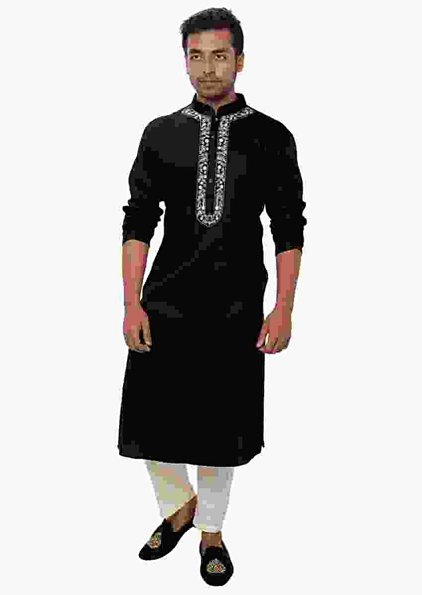 Black Kurta Set With White Threadwork Embroidery Online - Kalki Fashion