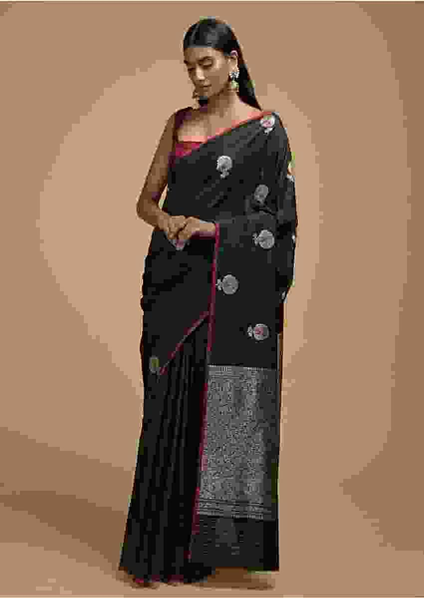 Black Pure Handloom Saree In Tussar Silk With Woven Floral Buttis And Jaal On The Pallu Online - Kalki Fashion