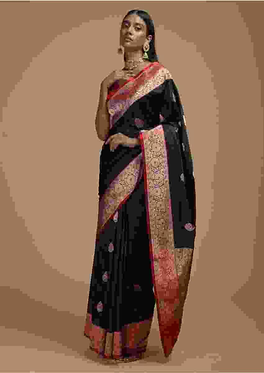 Black Pure Handloom Saree In Tussar Silk With Woven Leaf Shaped Floral Buttis And Red Border Online - Kalki Fashion
