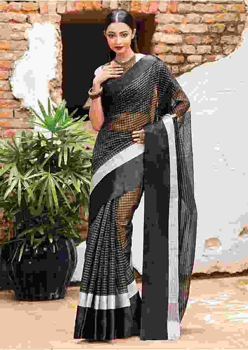 Black Saree In Chanderi Silk With Weaved Checks And Silver Weaved Border Online - Kalki Fashion