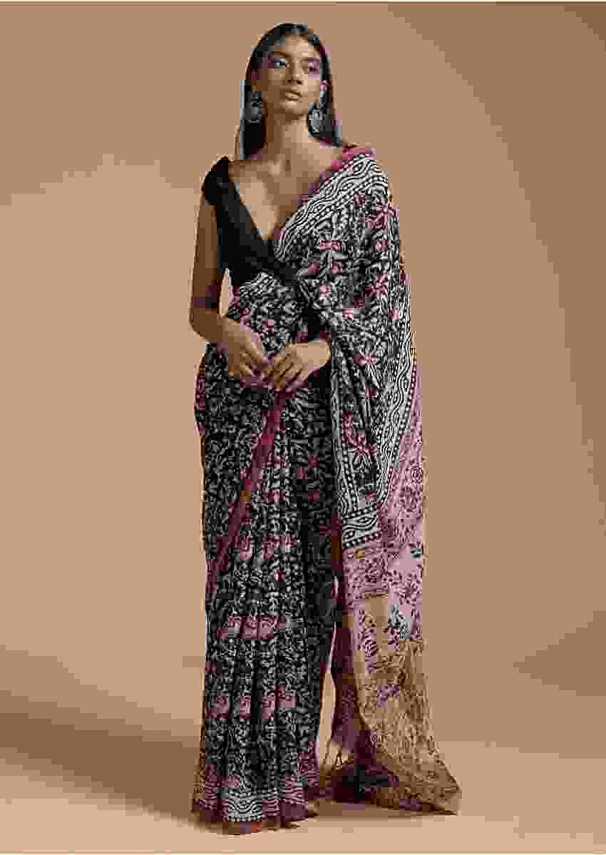 Black Saree In Cotton With Batik Printed Floral Jaal Design Online - Kalki Fashion