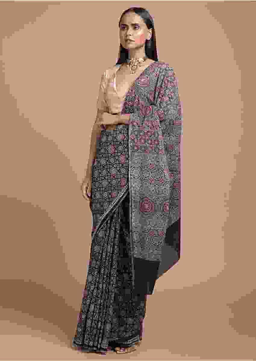 Black Saree In Cotton With Colorful Geometric And Floral Jaal Print All Over Online - Kalki Fashion