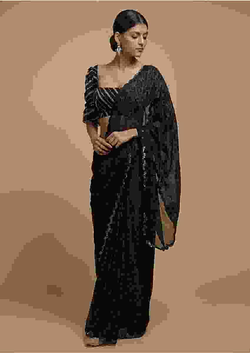 Black Saree In Silk With Bandhani Printed Jaal And Abla Embellished Scallop Border Online - Kalki Fashion