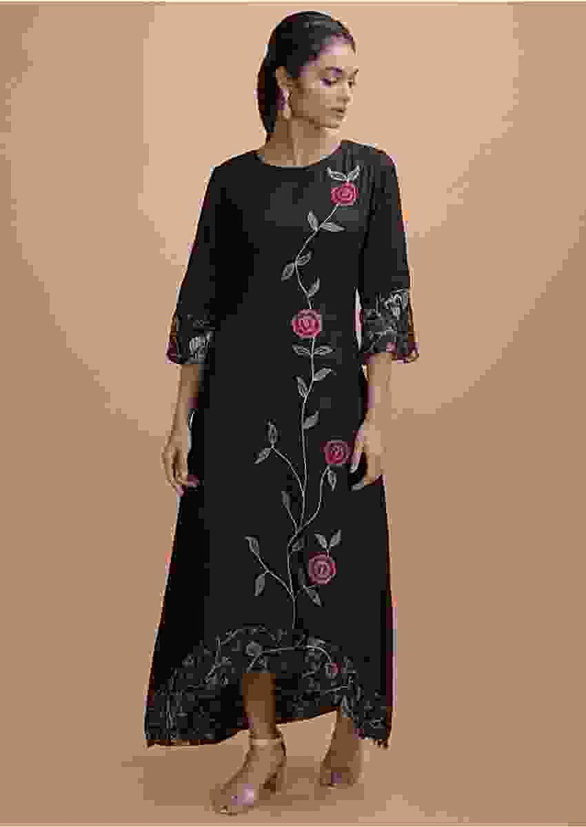 Black Tunic In Cotton With High Low Hemline And Thread Embroidery Online - Kalki Fashion