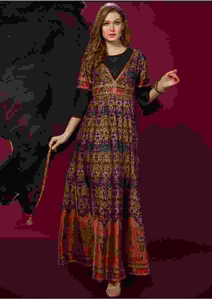 Black Suit With Digital Printed Ethnic Motifs And Ruffle Sleeves Online - Kalki Fashion