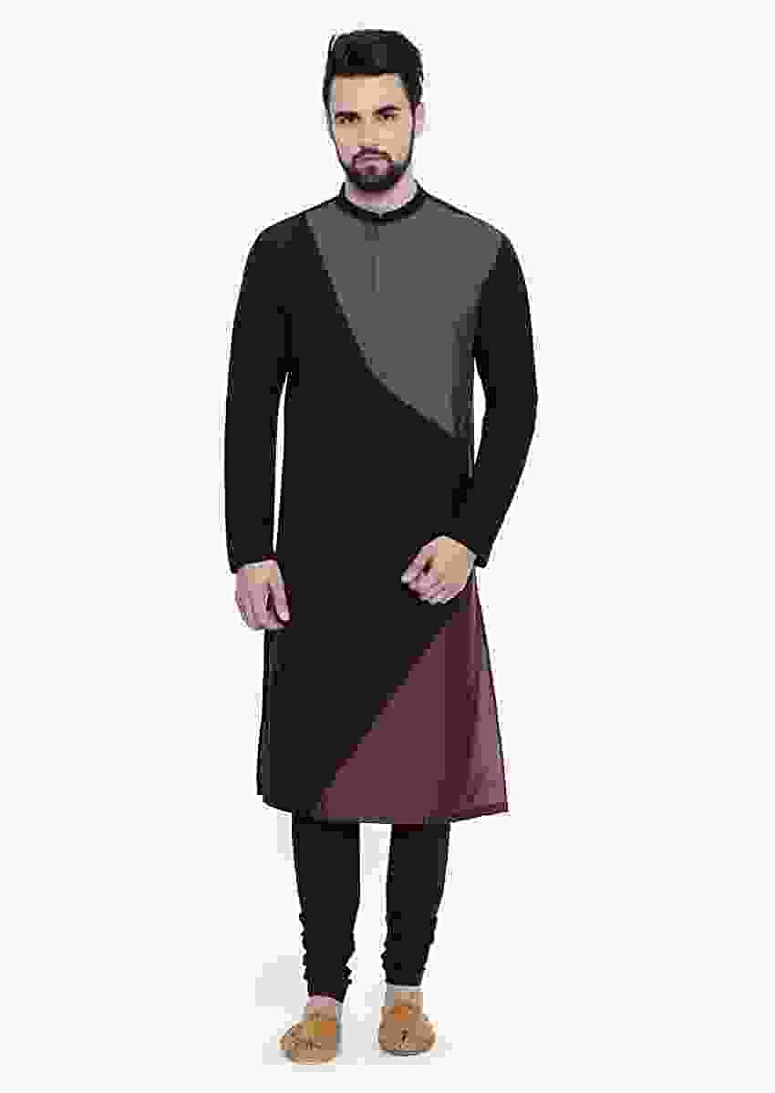 Black, Grey And Brown Colorblocked Kurta Set In Cotton Silk By Mayank Modi
