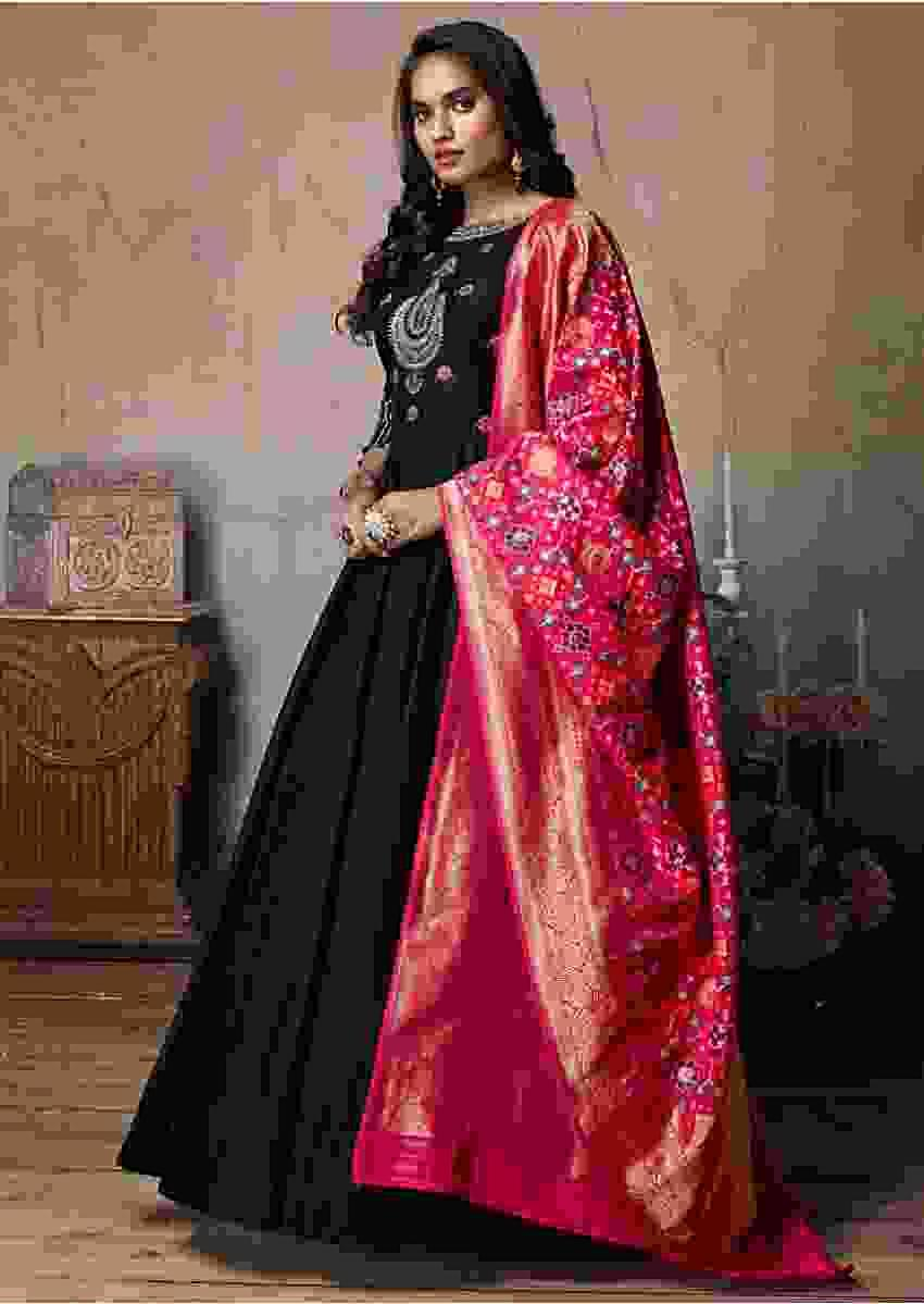 Black Silk Anarkali With A Contrasting Weaved Fuchsia Pink Dupatta Online Kalki Fashion