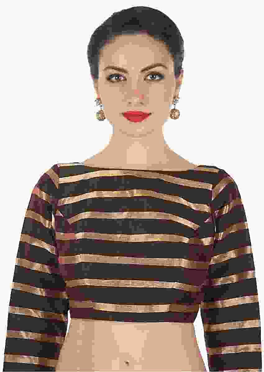 Black Blouse In Silk With Copper Color Weave In Stripes Motif Online - Kalki Fashion