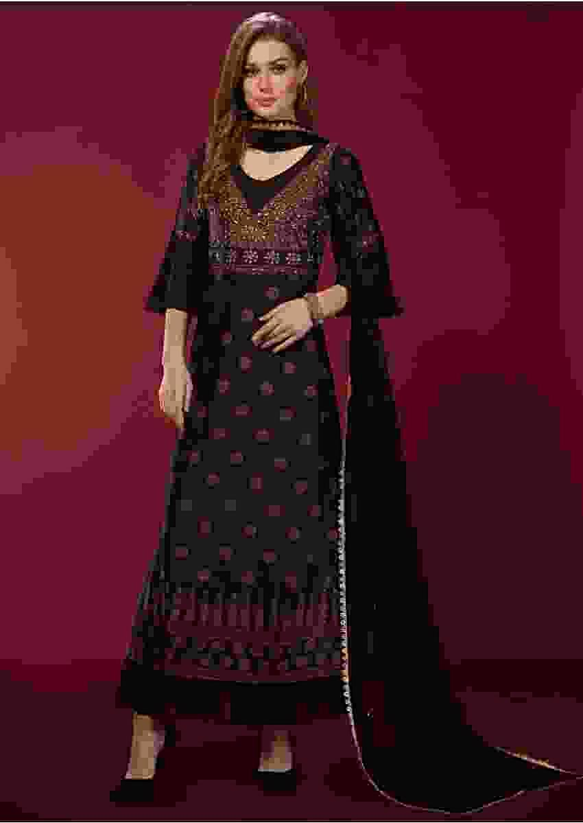 Black Long A Line Suit In Silk With Digital Printed Buttis And Flared Sleeves Online - Kalki Fashion