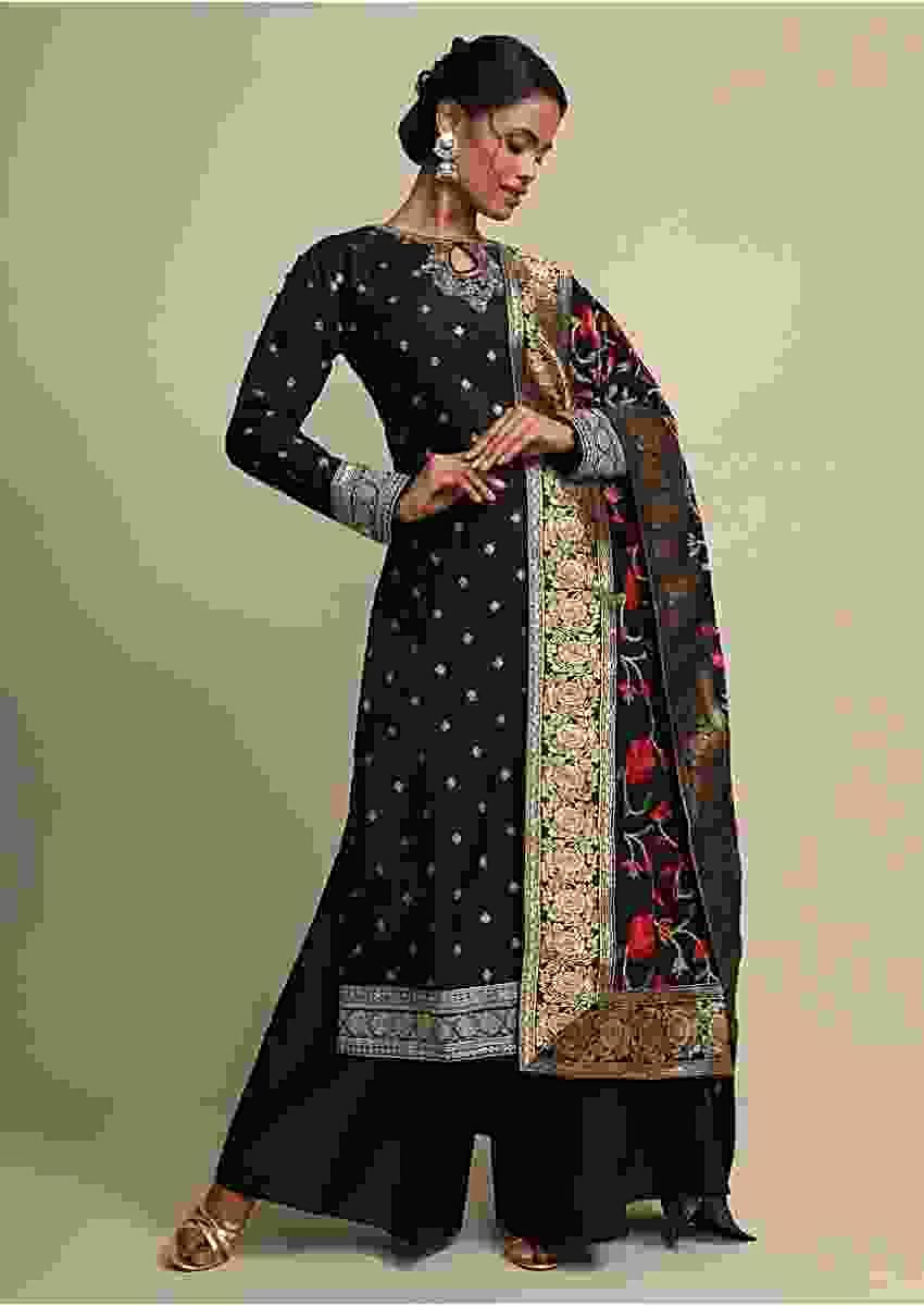 Black Palazzo Suit With Weaved Buttis And Resham Embroidered Dupatta Online - Kalki Fashion
